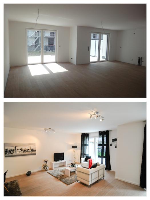 Im Wohnzimmer brachten die Profis von ... mit Teppichen, Möbeln, Bildern und Leuchten Behaglichkeit in den großen Raum.