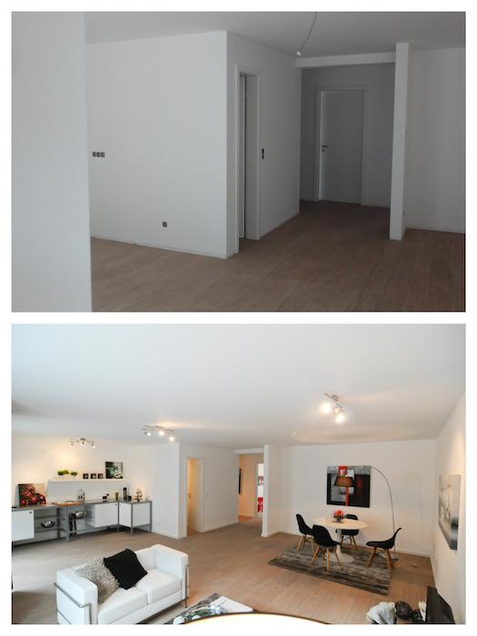 Leere Wände und Kabel aus der Decke - typisch für Neubauten. Viel Flair, dank Licht und Möbeln.